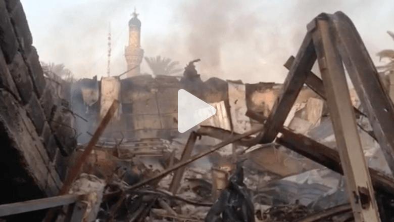 آثار المعارك في الفلوجة بين الجيش العراقي ومقاتلي داعش