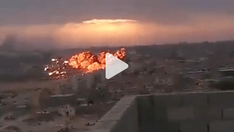 شاهد سقوط مقاتلة ليبية في مدينة طبرق