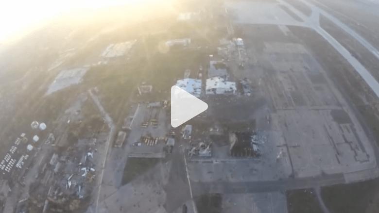 بالفيديو .. كيف يبدو الدمار الذي حل بمطار دونيتسك من الجو؟