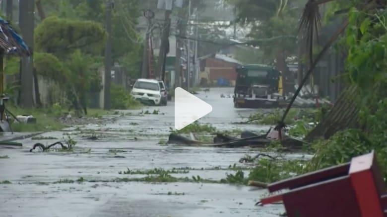 بالفيديو.. مشاهد رعب من إعصار هاغوبيت في الفلبين