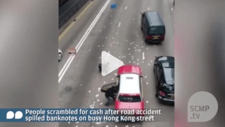 شاهد ما الذي حدث عندما تطاير 2000000 دولار في شوارع هونغ كونغ