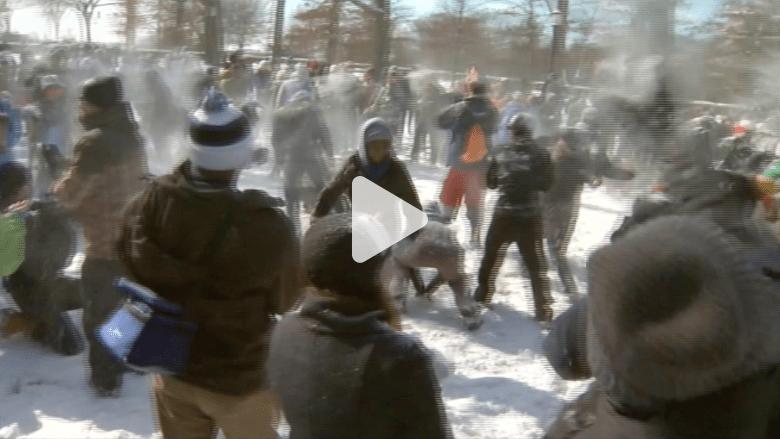 بالفيديو.. عراك بالثلوج في واشنطن