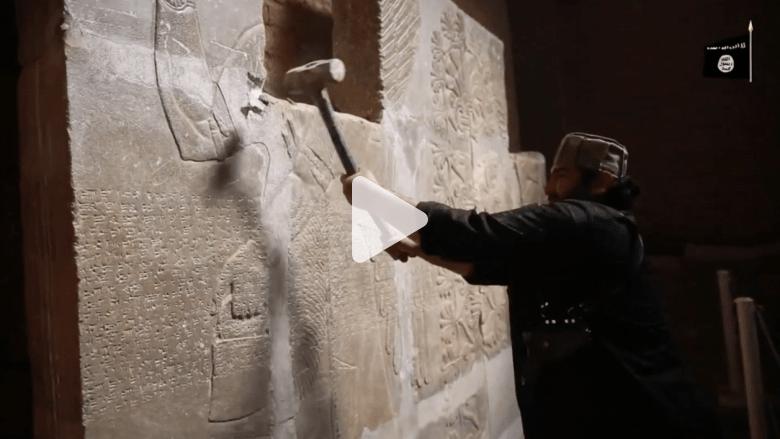 شاهد.. تدمير تنظيم داعش الموقع الأثري في مدينة نمرود
