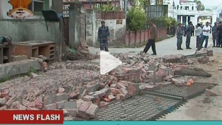 بالفيديو.. المشاهد الأولية للزلزال المدمر الذي ضرب نيبال