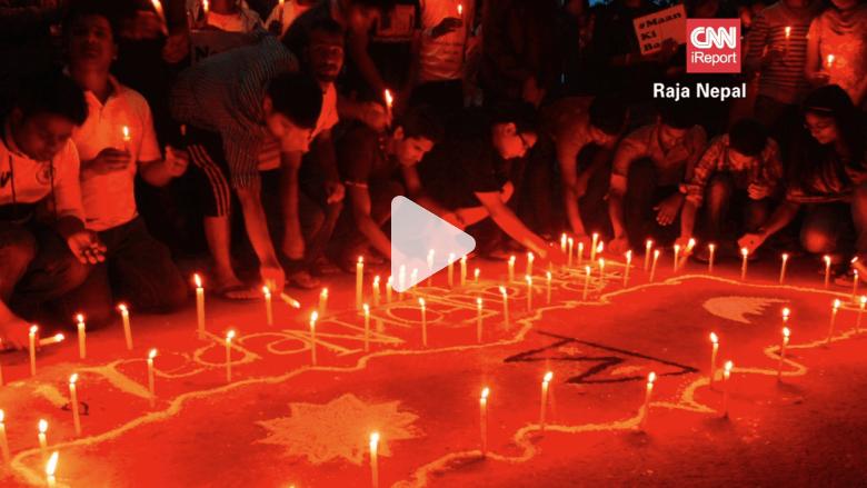 شاهد.. وقفة تضامن في الهند مع ضحايا زلزال نيبال