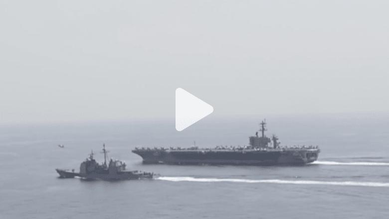 بالفيديو.. البحرية الأمريكية سترافق أي سفينة ترفع العلم الأمريكي في مضيق هرمز