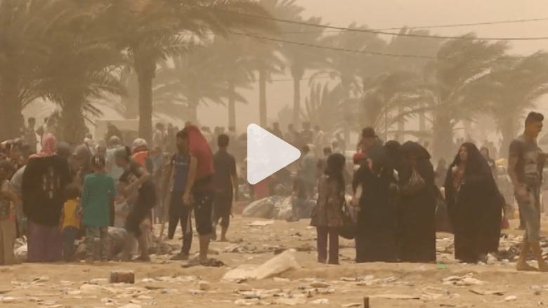 بالفيديو .. عائلات هاربة من الرمادي تعلق وسط عاصفة رملية بعدما أغلق الطريق باتجاه بغداد