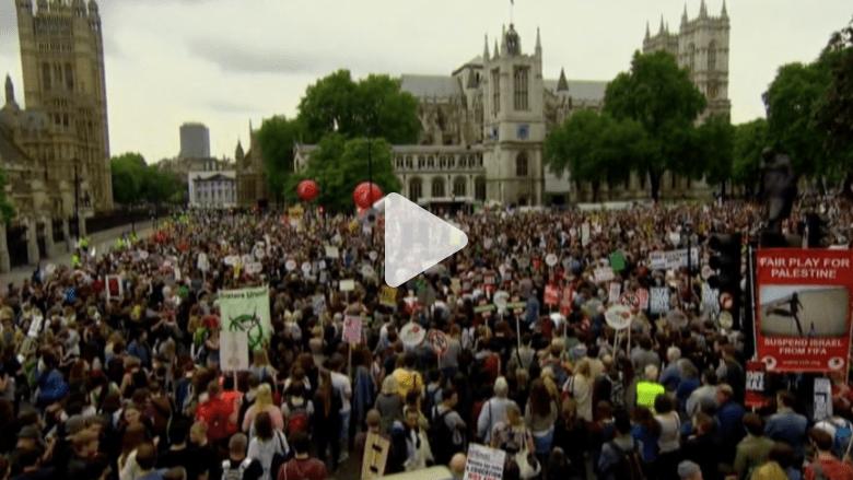 بالفيديو.. عشرات الآلاف يتظاهرون ضد التقشف في لندن