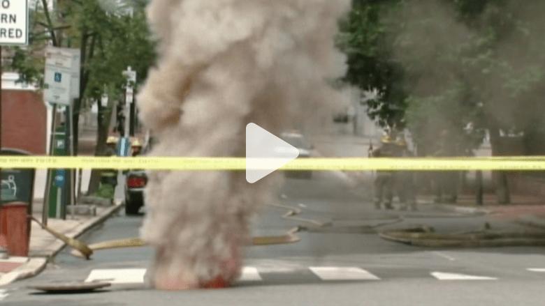 بالفيديو..دخان من باطن الأرض يثير الرعب في فيلادلفيا
