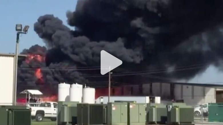 شاهد..اندلاع حريق بخزان غاز بولاية ميسوري الأمريكية