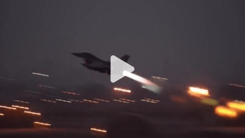 """بالفيديو.. أولى غارات المقاتلات الأمريكية على مواقع """"داعش"""" من تركيا"""