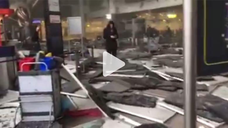 شاهد آثار التفجيرات من داخل مطار بروكسل