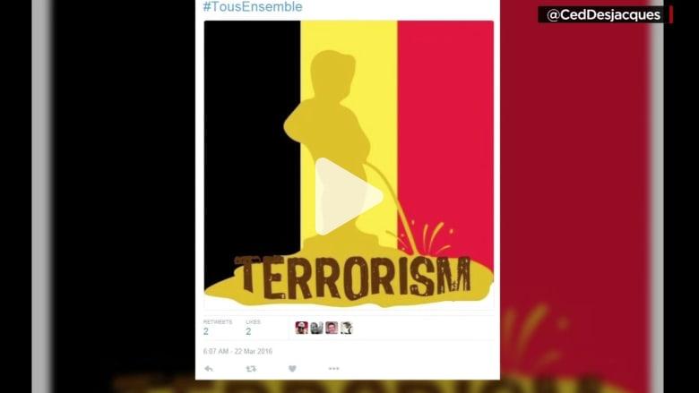 شاهد.. أشهر معالم بلجيكا يتحول بطريقة ساخرة إلى  رمز يتحدى الإرهاب