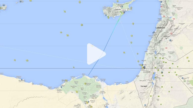 تابع على الخريطة رحلة الطائرة المصرية المخطوفة من الإسكندرية إلى قبرص