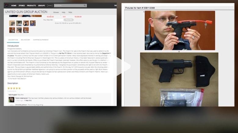 بالفيديو: قاتل المراهق الأمريكي الأسود تريفون مارتن يعرض مسدسه للبيع في مزاد على الإنترنت