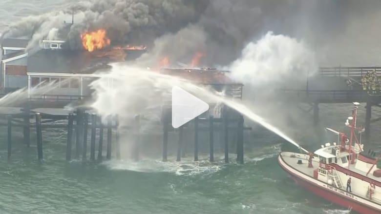بالفيديو: رجال الإطفاء يستعملون قوارب للسيطرة على حريق مطعم في كاليفورنيا