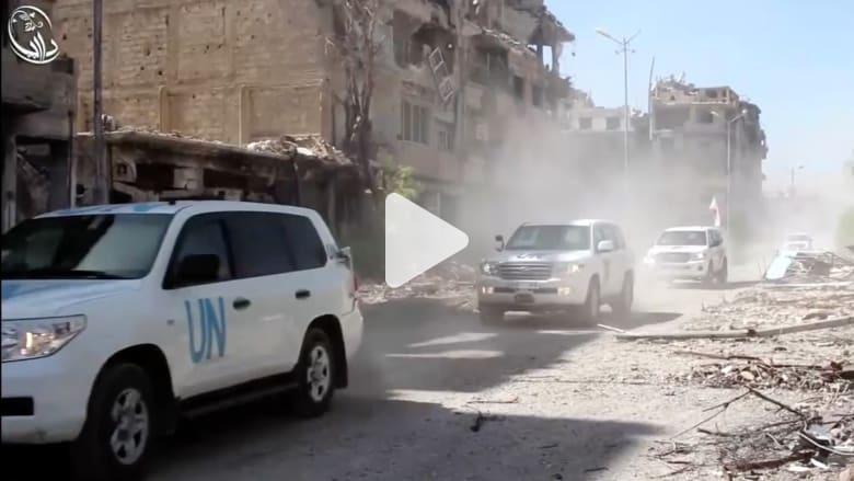 شاهد..  دخول أول قافلة مساعدات إنسانية الى داريا منذ عام 2012