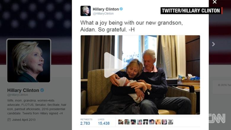 هيلاري كلينتون ترزق بحفيد جديد.. وتنشر صوراً تجمعها به في تويتر
