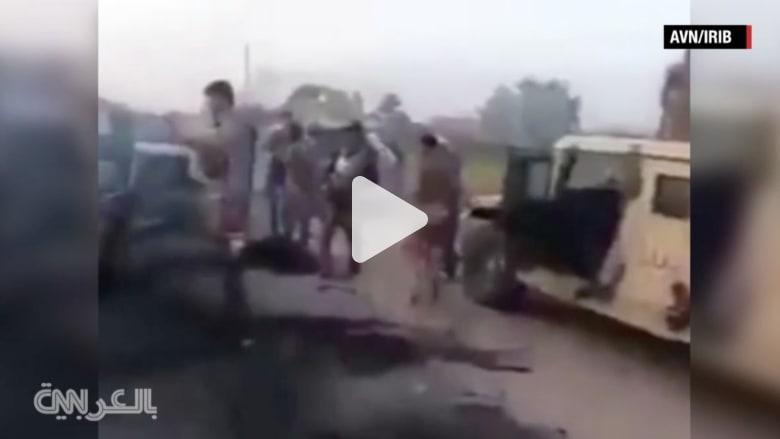 """شاهد.. آثار الغارات الجوية على موكب لـ""""داعش"""" بالفلوجة"""