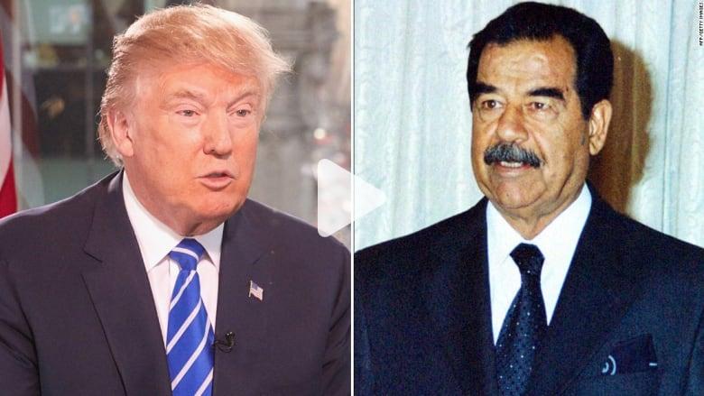 """بالفيديو: ترامب يمدح الديكتاتور صدام حسين: كان """"فعالا"""" بقتل الإرهابيين"""