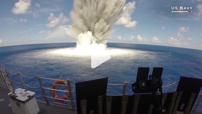 """اختبار """"صمود"""" مدمرة أمريكية ضد 4.5 طن من المتفجرات"""