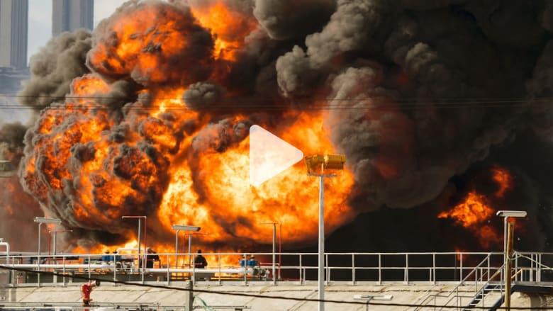 السيطرة على حريق هائل بعد اشتعال خزان وقود بمصفاة حيفا