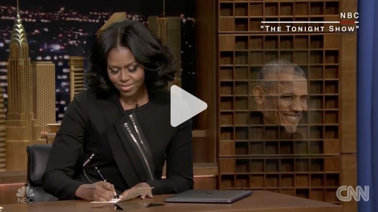 """شاهد.. ماذا كتبت ميشيل أوباما في برنامج """"جيمي فالون"""""""