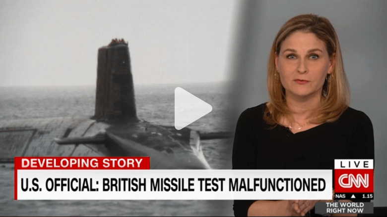 صاروخ بريطاني ينتحر على ساحل أمريكا