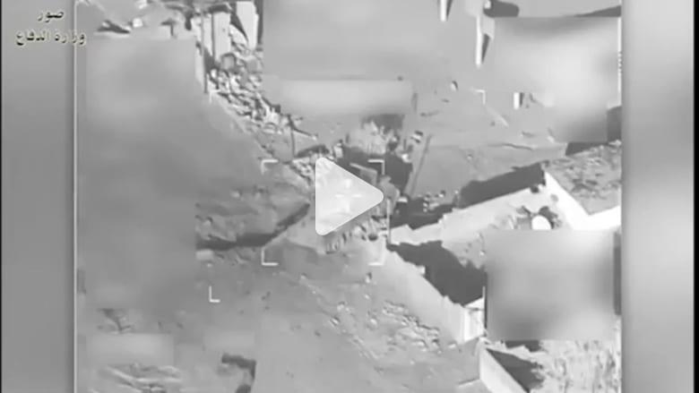 شاهد.. لحظة استهداف مقاتلات التحالف مواقع داعش بالموصل