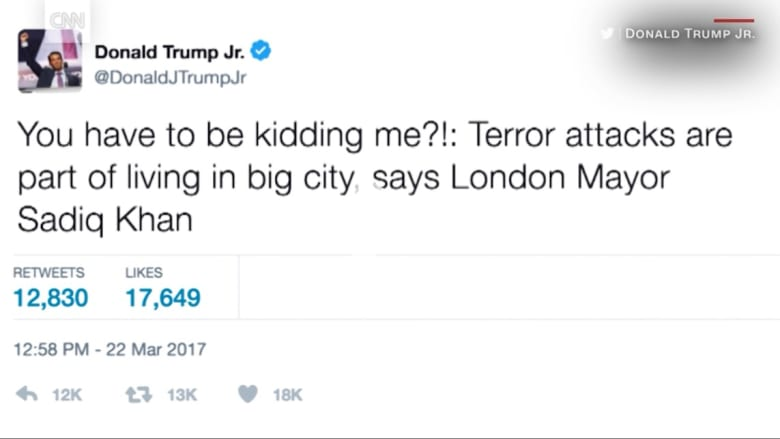 شاهد رد عمدة لندن المسلم على تغريدة لنجل ترامب