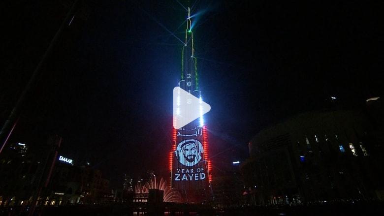 شاهد.. عروض ضوئية تزين برج خليفة في دبي احتفالا بـ2018