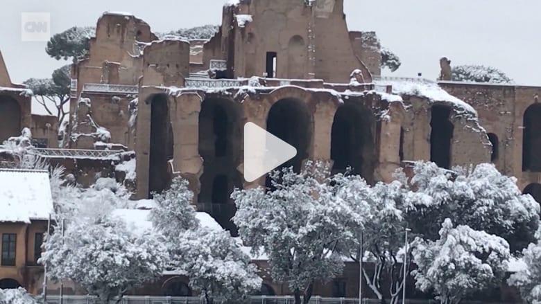 معارك تندلعبكرات الثلج في روما