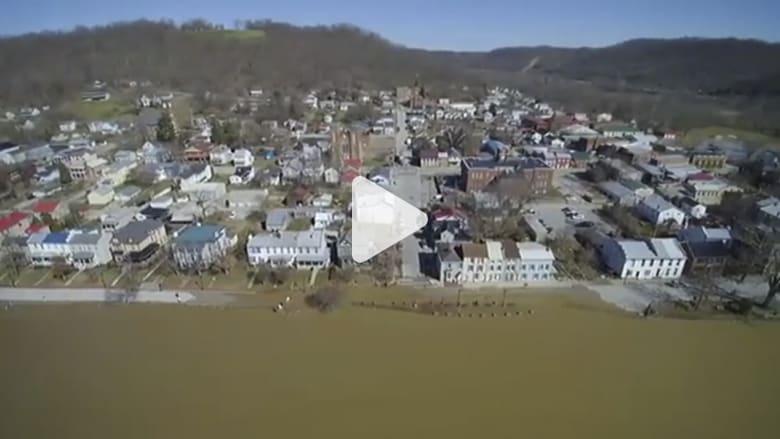 شاهد من الجو.. فيضانات على طول نهر أوهايو!