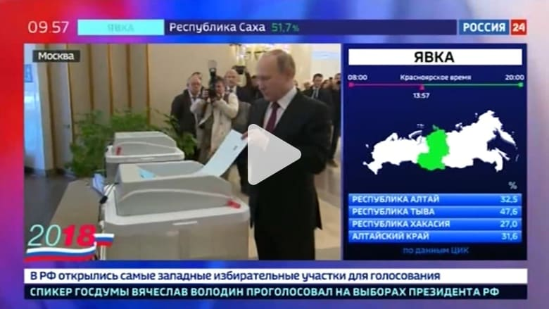 شاهد.. بوتين يدلي بصوته في الانتخابات الرئاسية الروسية