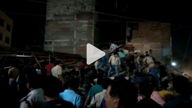 شاهد.. انهيار مبنى بالهند يودي بحياة 10 على الأقل