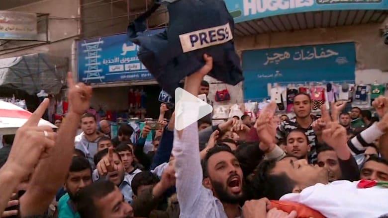 شاهد.. جنازة صحفي فلسطيني قتل أثناء تغطية أحداث غزة