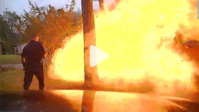 شاهد.. لحظة انفجار منزل اصطدمت به سيارة
