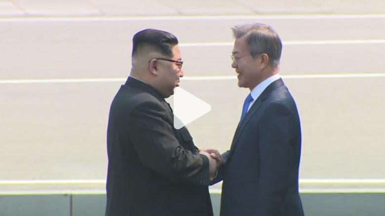 شاهد.. لحظة لقاء كيم جونغ أون برئيس كوريا الجنوبية