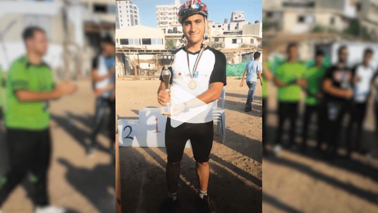 شاهد.. حلم احتراف ركوب دراجات بترته النيران الإسرائيلية
