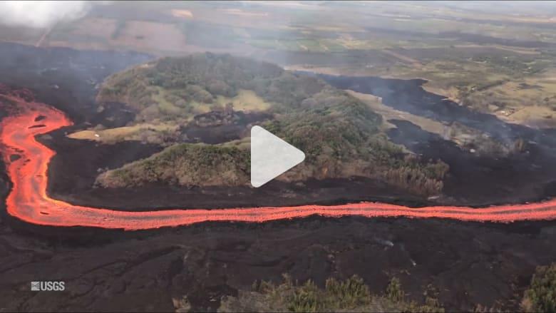 مشهد مذهل من الجو.. نهر من الحمم البركانية في هاواي