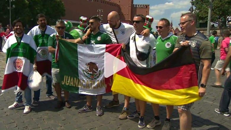 شاهد.. مصافحة مشجعي المكسيك وألمانيا قبل مباراة المنتخبين