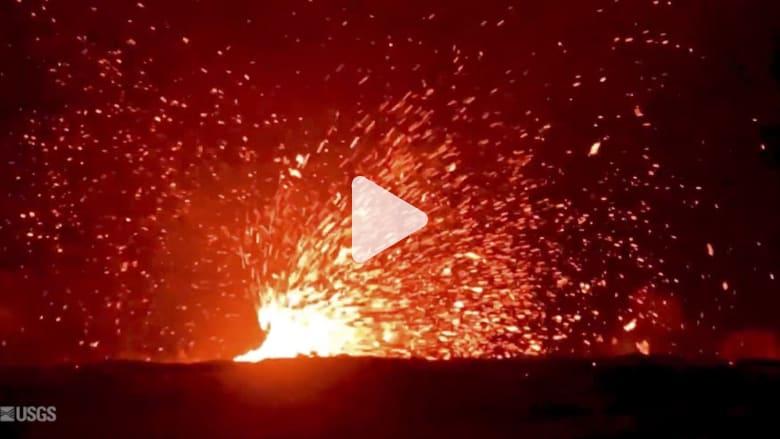 شاهد.. زوبعة من الحمم البركانية في هاواي