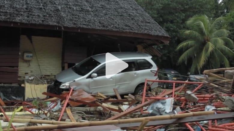 كاميرا CNN ترصد حجم الدمار الذي خلفه تسونامي إندونيسيا