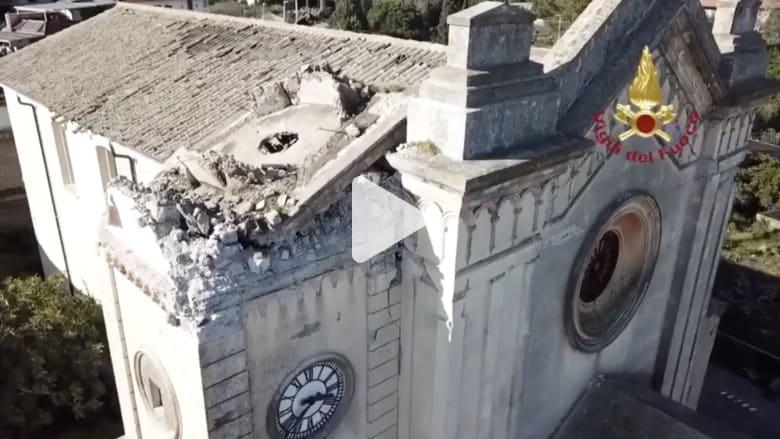 شاهد حجم الدمار الذي خلفه زلزال ضرب صقلية الإيطالية