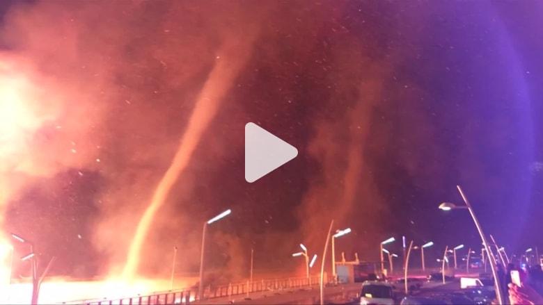 حريق على شاطئ هولندي يتحول إلى أعاصير نارية