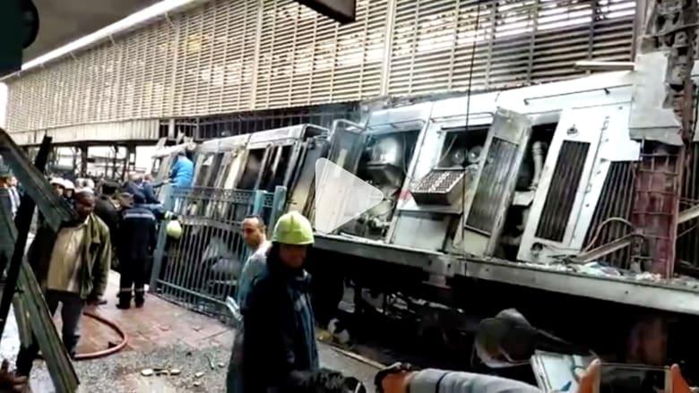 """المشاهد الأولية عد نشوب حريق """"هائل"""" في محطة قطارات مصر"""