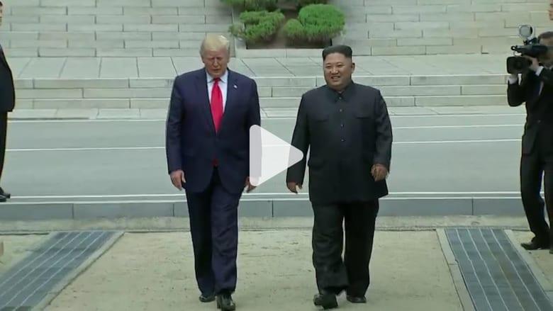 ترامب يدخل 20 خطوة إلى كوريا الشمالية ويصافح كيم جونغ أون