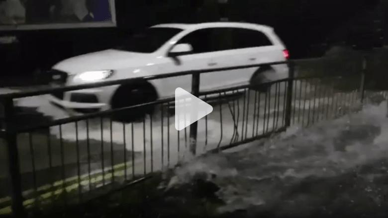 شاهد ماذا حصل لسيارة حاول سائقها اقتحام مياه فيضان