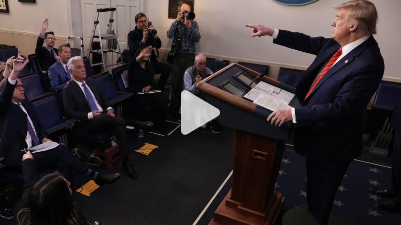 شاهد.. مشادة كلامية بين ترامب وصحفي سأله عن فيروس كورونا