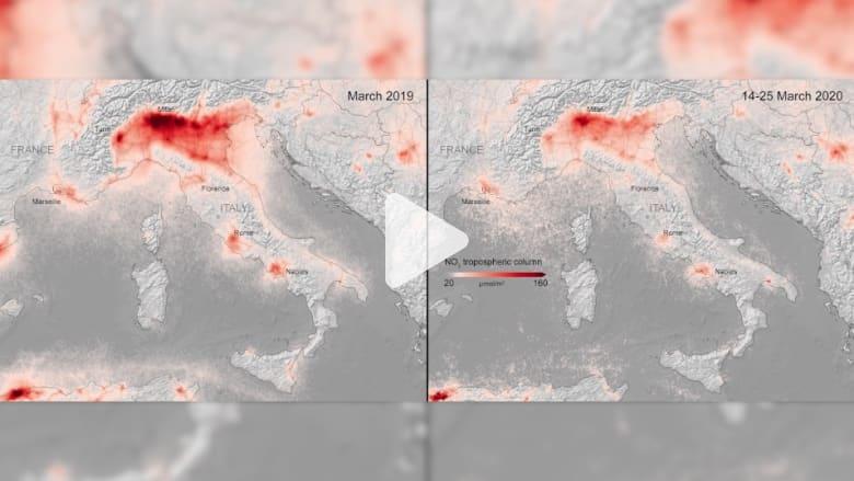 """فيروس كورونا.. صور الأقمار الصناعية تظهر انخفاضا """"حادا"""" للتلوث في أوروبا"""
